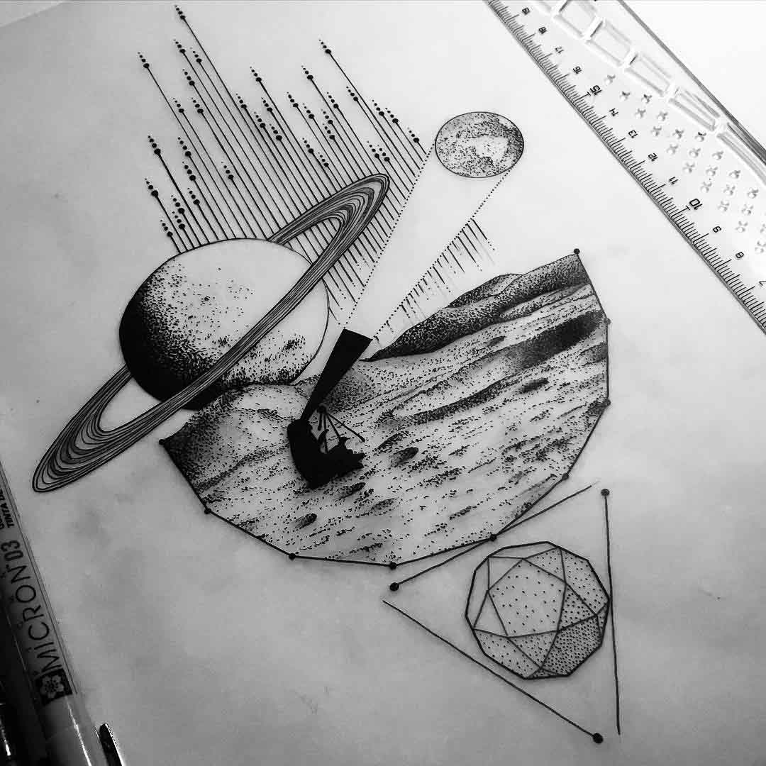 Drawn pen space Tattoo design space Spaces exploration