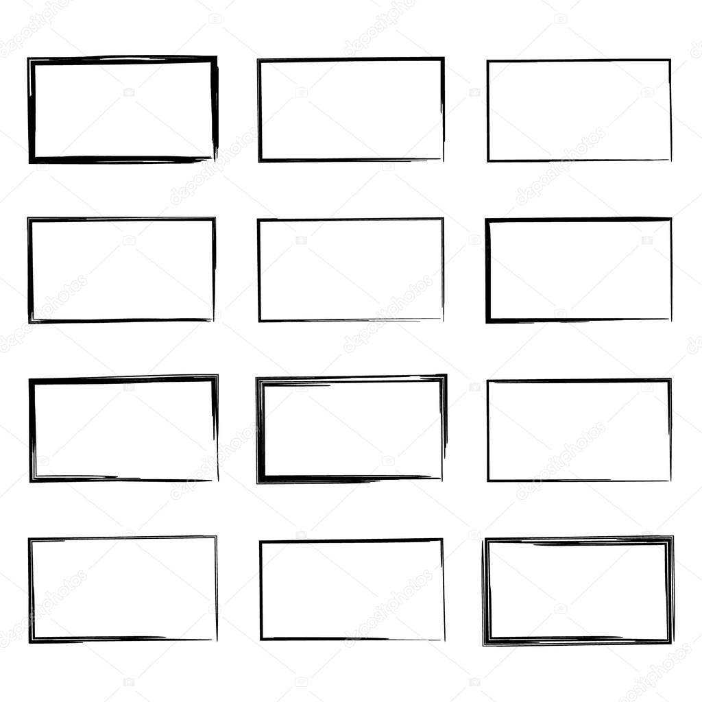 Drawn pen square Set Set #83792552 square square
