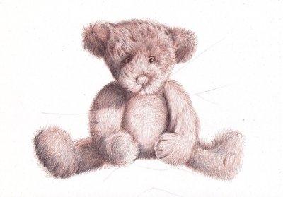 Drawn pen teddy bear Dead Drawing with baqll Beginner