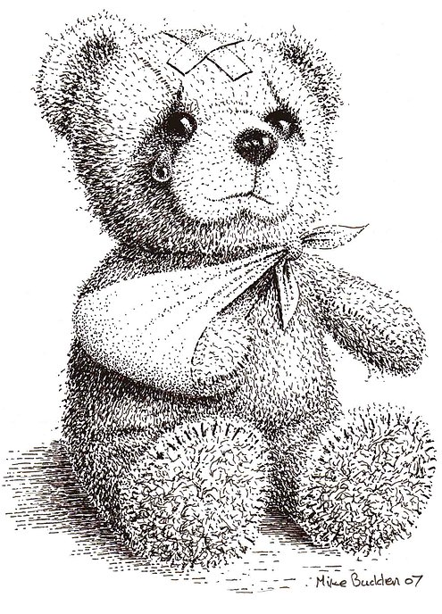 Drawn pen teddy bear