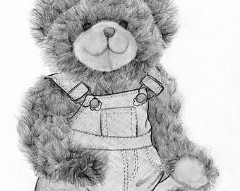 Drawn pen teddy bear Teddy Art Drawing Art Original