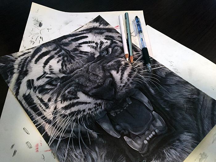Drawn pen tiger A Behance results pretty &