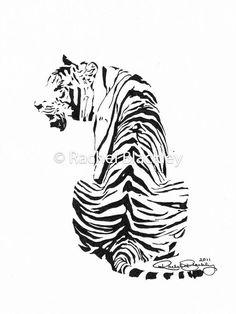 Drawn pen tiger Sketch «Нравится» Fine Ink Print