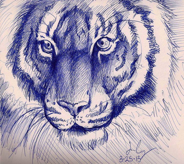 Drawn pen tiger Best on Pen sketches tiger