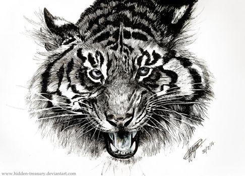 Drawn pen tiger Tiger on HiddenTreasury tigerdrawing Explore