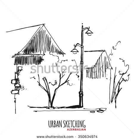 Drawn pen vintage Hand illustration  vector house