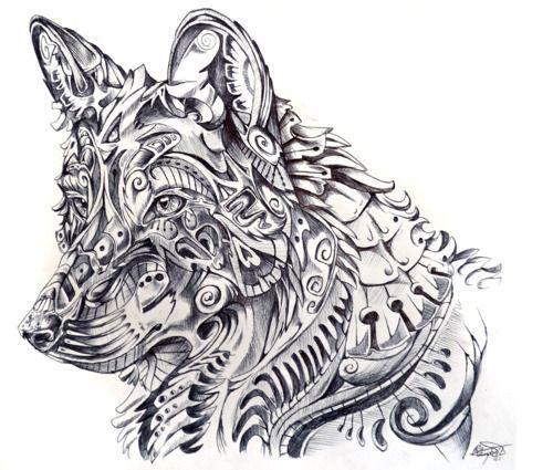 Drawn pen wolf Images Zentangle Pinterest animal drawing