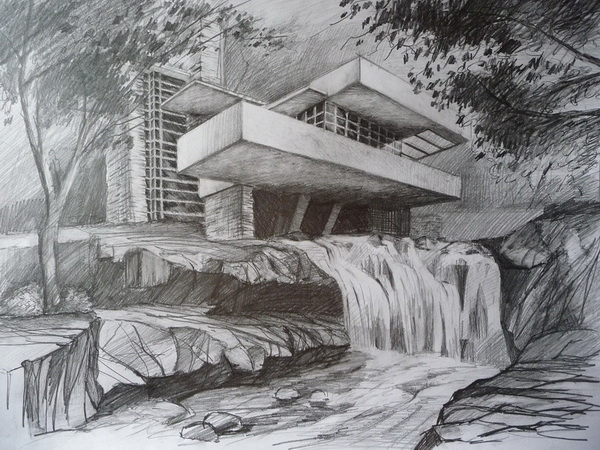 Drawn pencil waterfall Lawson's canal parked October with
