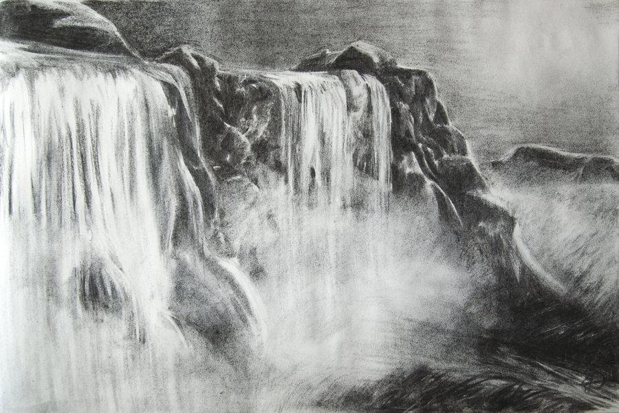 Drawn pencil waterfall Drawings Waterfalls Of Of Waterfalls