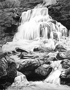 Drawn pencil waterfall Google  Search white waterfall