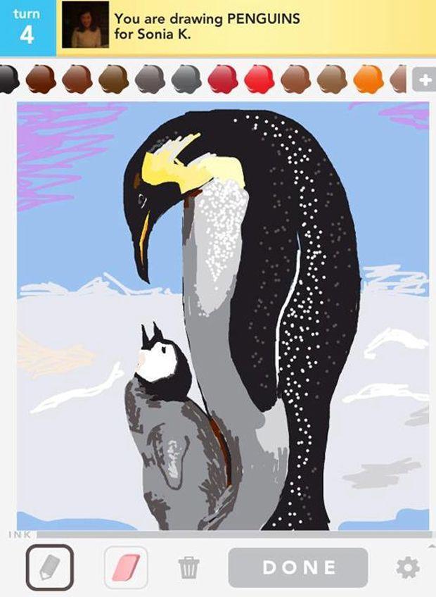 Drawn penguin draw something Penguins something  Something draw