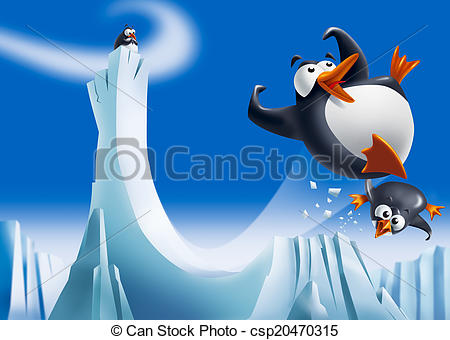 Drawn penguin ice clipart On ice  Clipart of