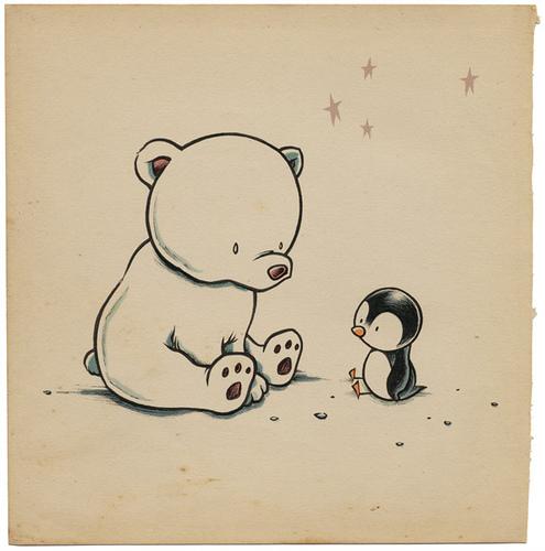Drawn polar  bear penguin #1