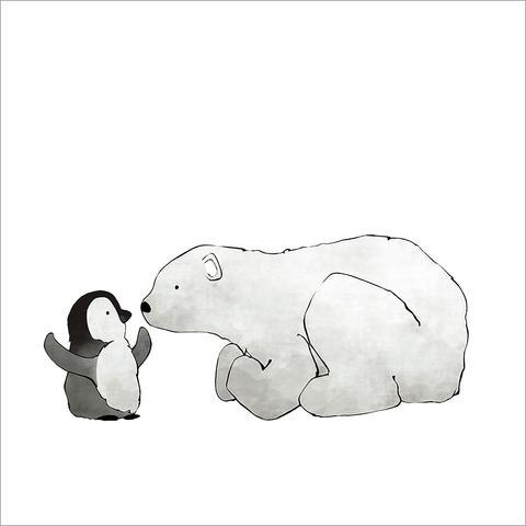 Drawn polar  bear penguin #7