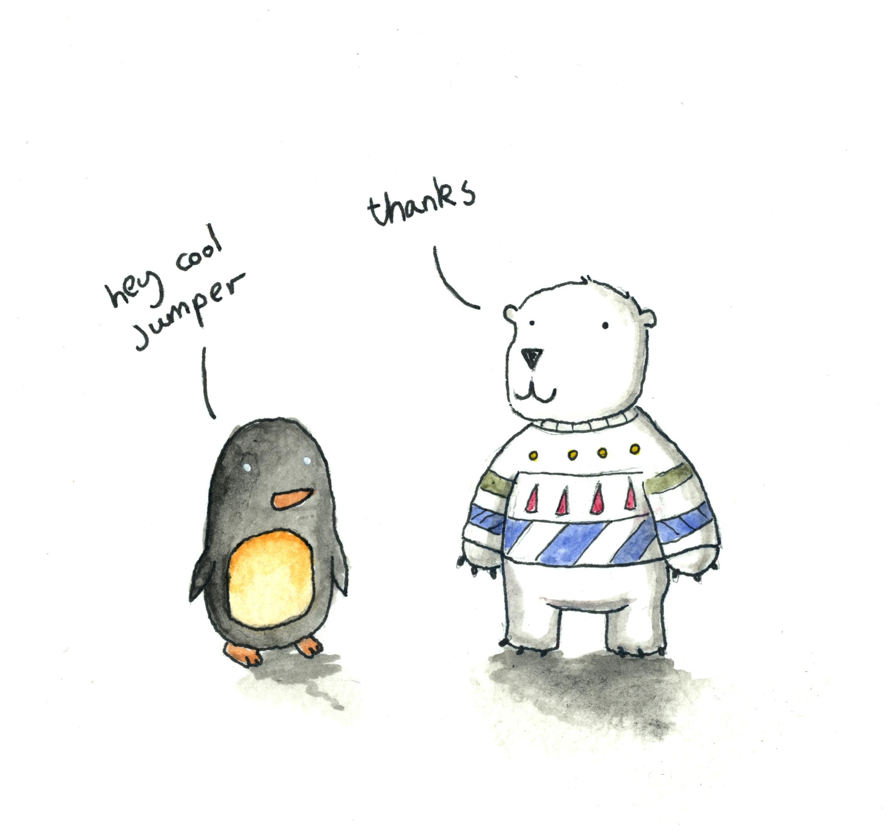 Drawn polar  bear penguin #4