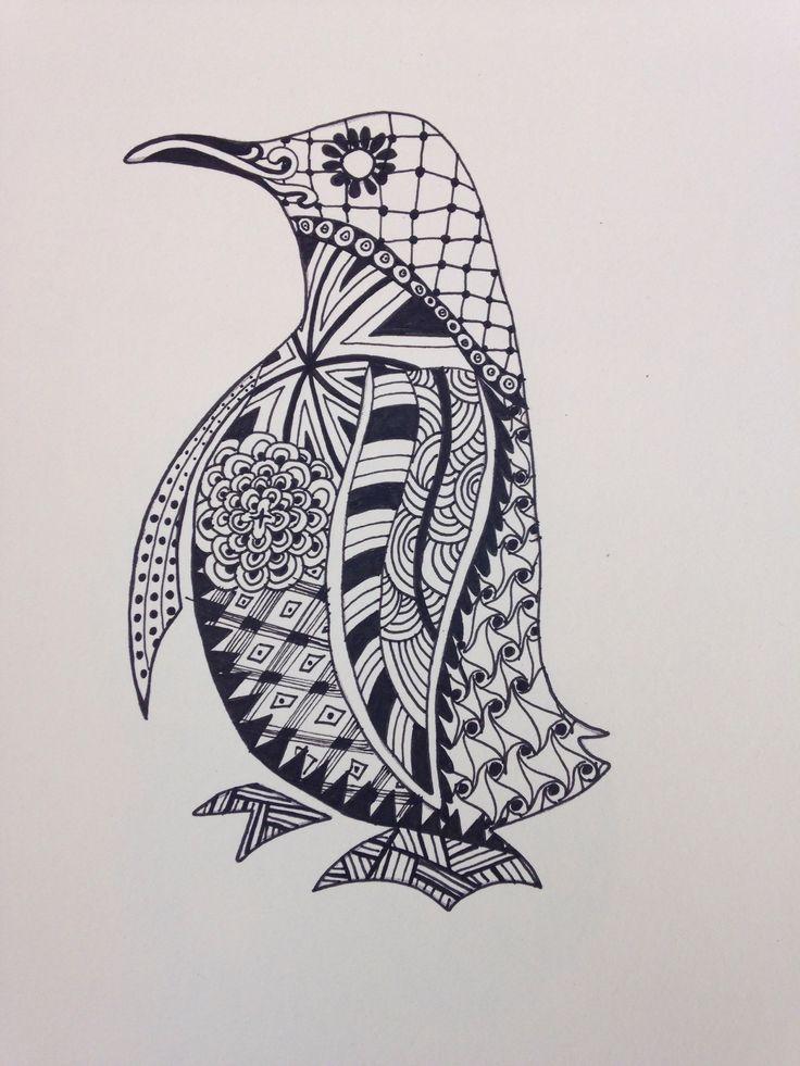 Drawn penguin well Penguin (736×981) Pinterest PenguinsDoodle DrawingZentangle