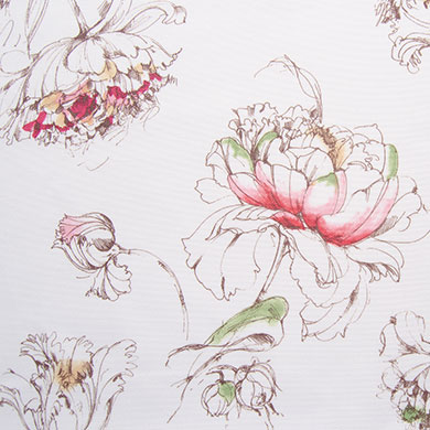 Drawn peony base Fabric with modern accents printed