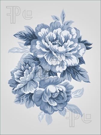 Drawn peony chinese peony Peony Blue drawn bouquet of
