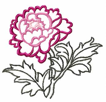 Drawn peony chinese peony Designs Embroidery Size: 3 4