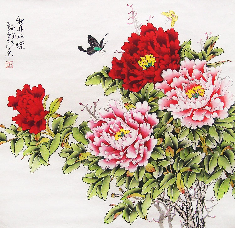 Drawn peony chinese peony Art l art peony painting
