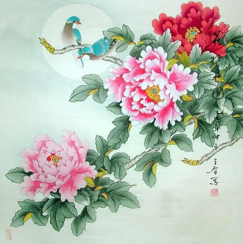 Drawn peony chinese peony X 69cm 69cm(27〃 z Bird
