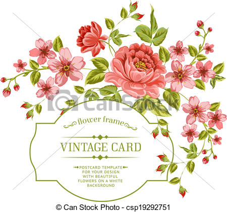 Peony clipart vintage Background csp19292751  peony color