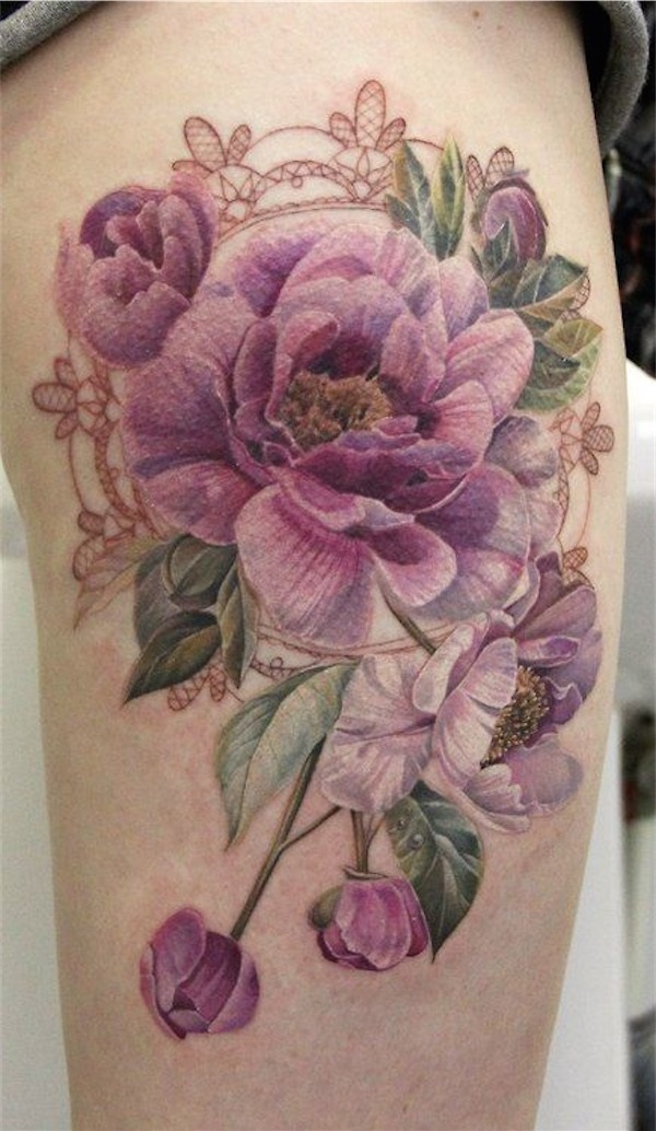 Drawn peony delicate flower Tatting Tattoo Awesome Tattoo Awesome