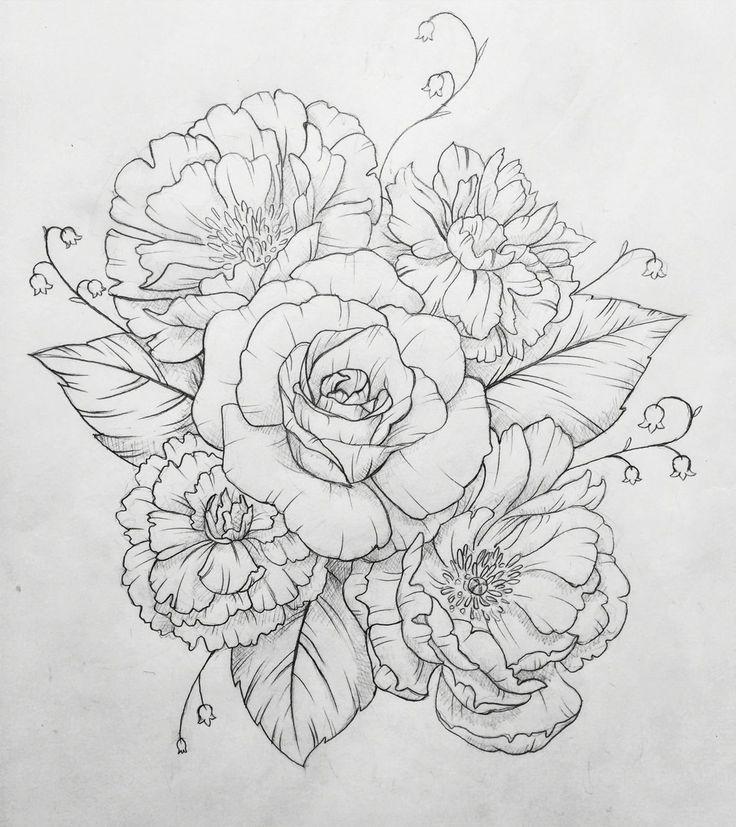 Drawn peony delicate flower Pinterest The best ideas tattoo