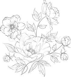 Drawn peony elegant flower Peony TattooTattoo tattoo black Peonies