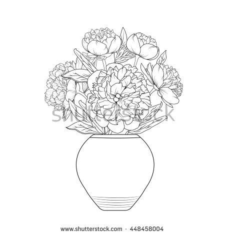 Drawn peony flower vase Isolated bouquet white Vase flowers