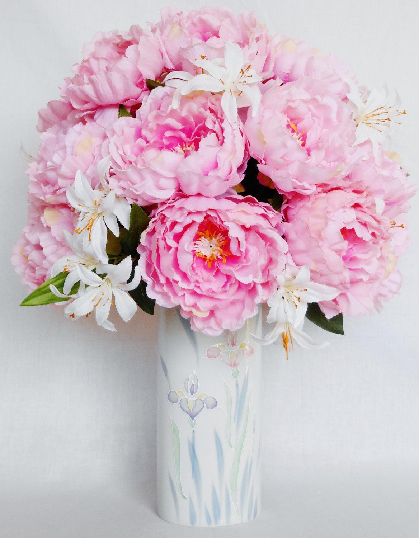 Drawn peony flower vase Peonies Artificial  Silk Vase