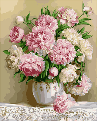 Drawn peony vector Oil Picture Frameless Drawing Numbers