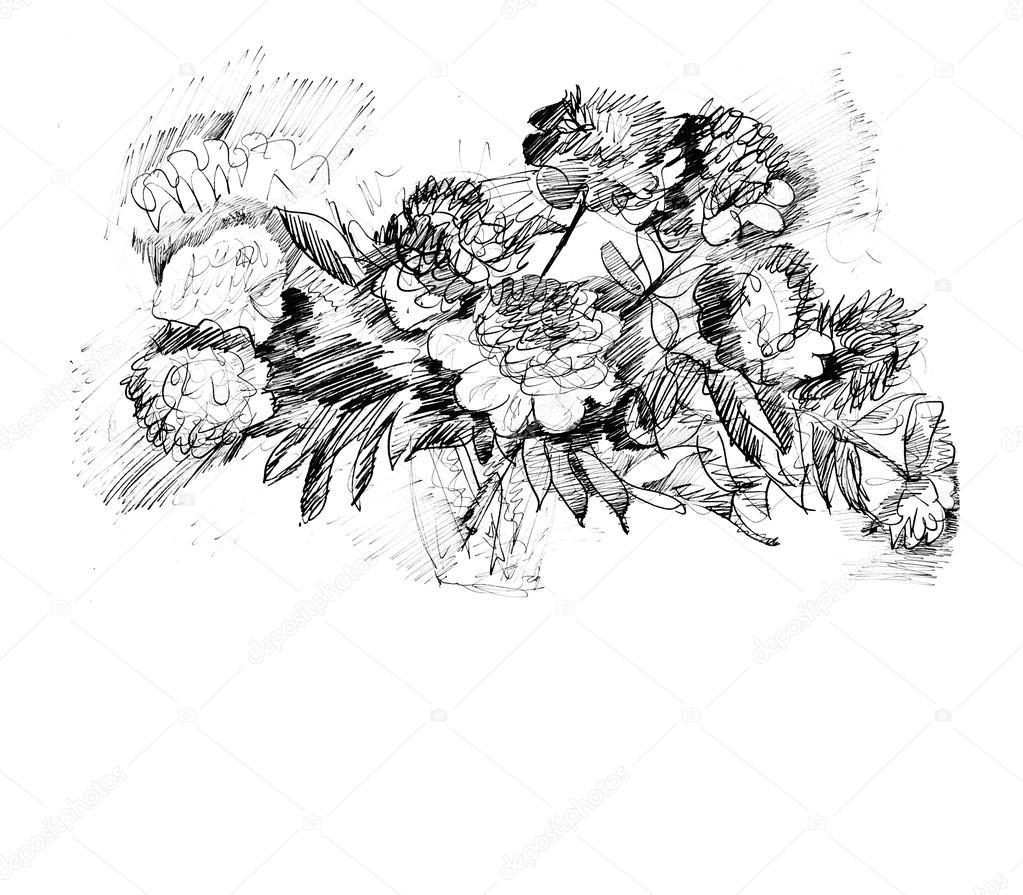 Drawn peony flower vase Drawn in Stock Peony flower