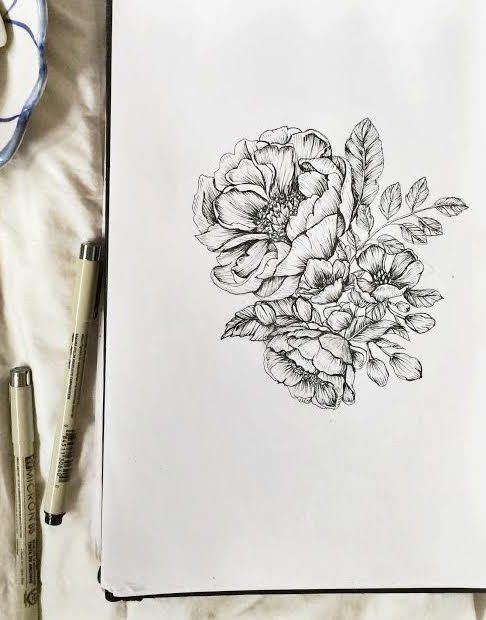 Drawn peony hand drawn 5x7 Hand emiliebelle Pen Peonies