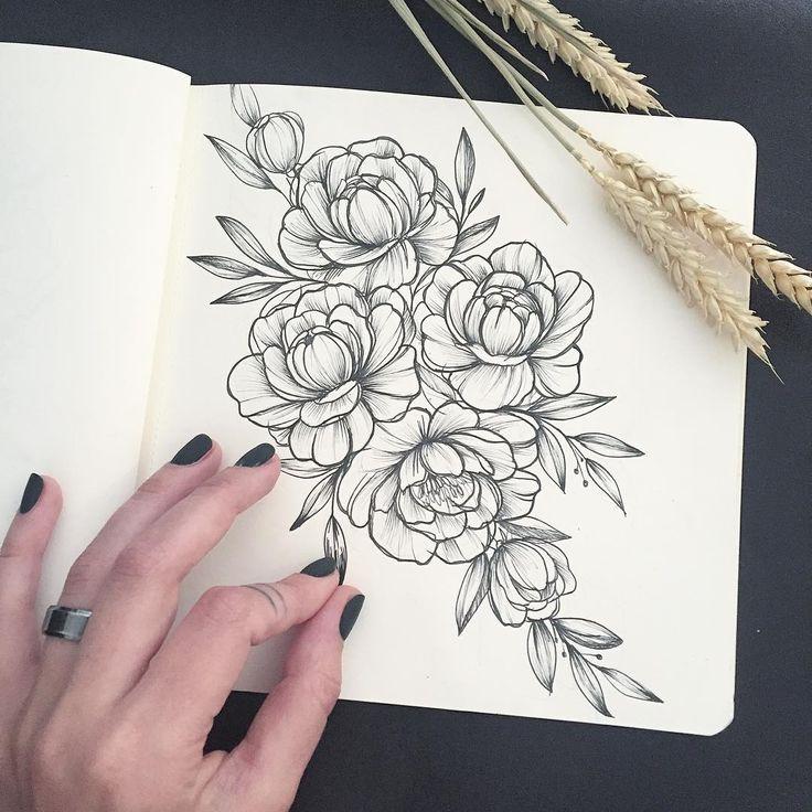 Drawn peony illustration @anna_bravo_ tattoo 575 Pinterest •