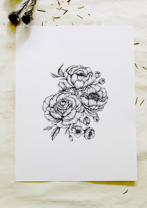 Drawn rose detail drawing  tattoo tattoo Ink peonies