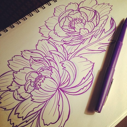 Drawn peony japanese On Know on We How