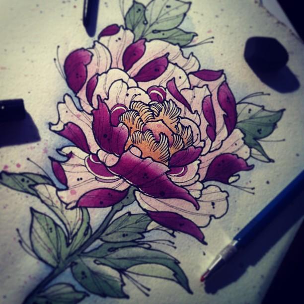 Drawn peony neo traditional Neo Flower … TattooTattoo Wicked