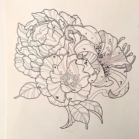 Drawn peony neo traditional And photos #ink #design videos