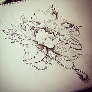 Drawn peony neo traditional Tattoos Search traditional Search