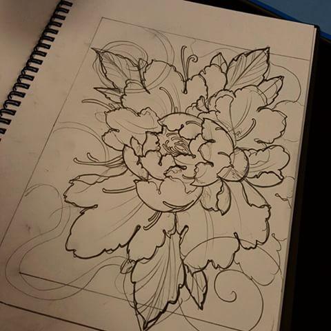 Drawn peony neo traditional (@elliottwells666) Wells get If Instagram