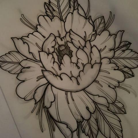 Drawn peony vector #tattooworkers #tattoos Peony Instagram #triplesixstudios