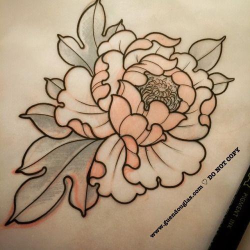 Drawn peony neo traditional Traditional Neo tattoos Neo tattoos