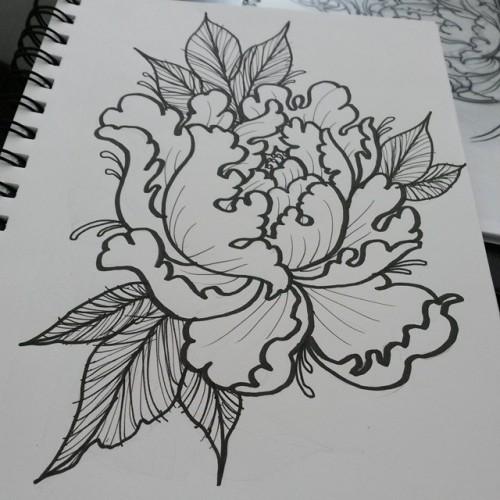 Drawn peony neo traditional # #tattooart LT #tattoodrawing neotraditional