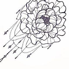Drawn peony peonie  tattoo with drawing botanical