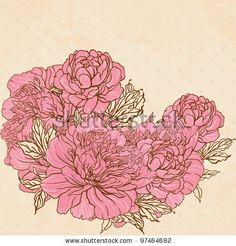 Drawn peony peony bouquet Beautiful Gorbash Varvara on background