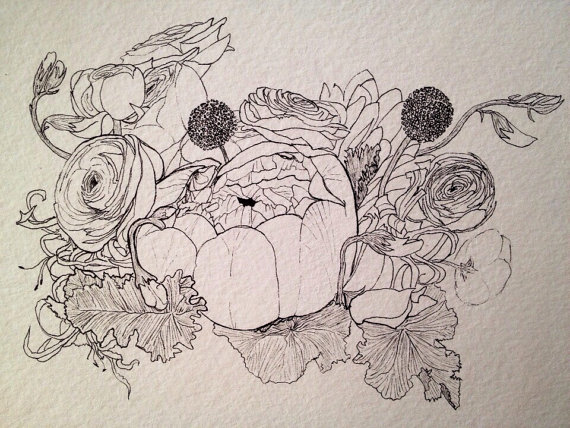 Drawn peony peony bouquet Peony ink drawing ink by