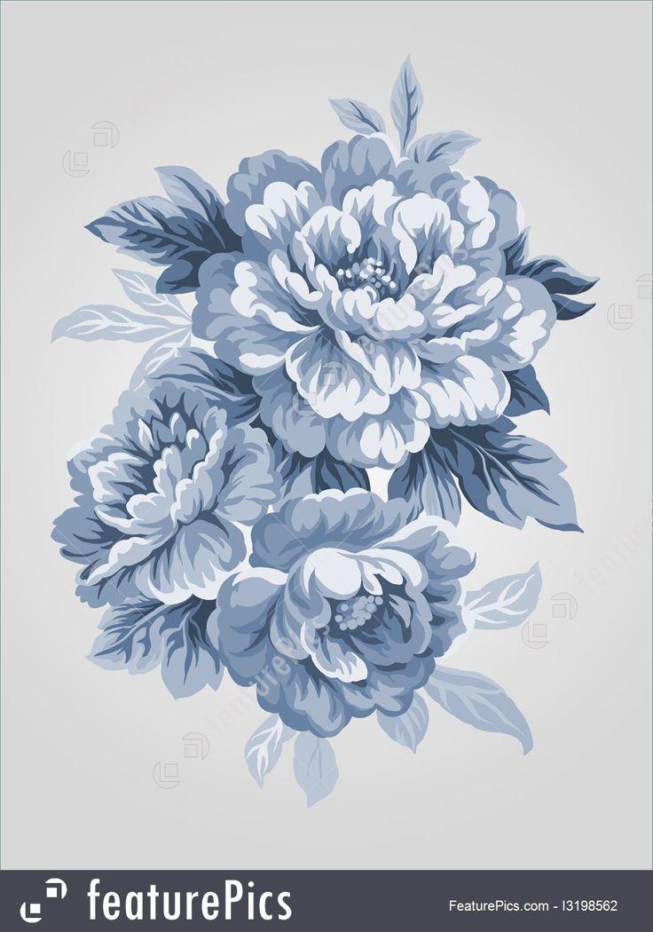 Drawn peony peony flower Hand on The Painting drawn