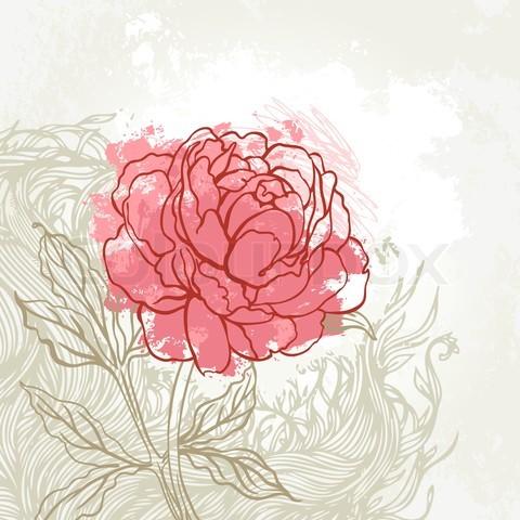 Drawn peony pink peony The Joy peony of Tumblr