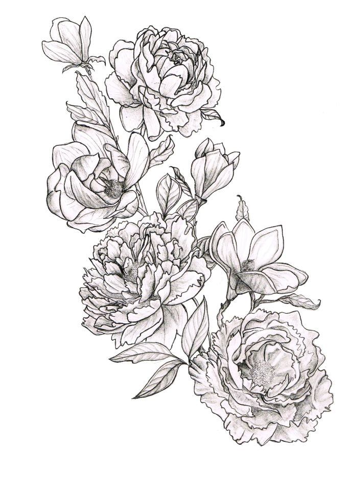Drawn peony simple Magnolias Peony DrawingMagnolia And TattooPeony